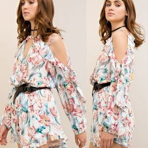 Cold Shoulder Strappy Ruffle Floral Ivory romper